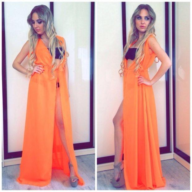 пляжная мода 2019: сарафан оранжевый шифон