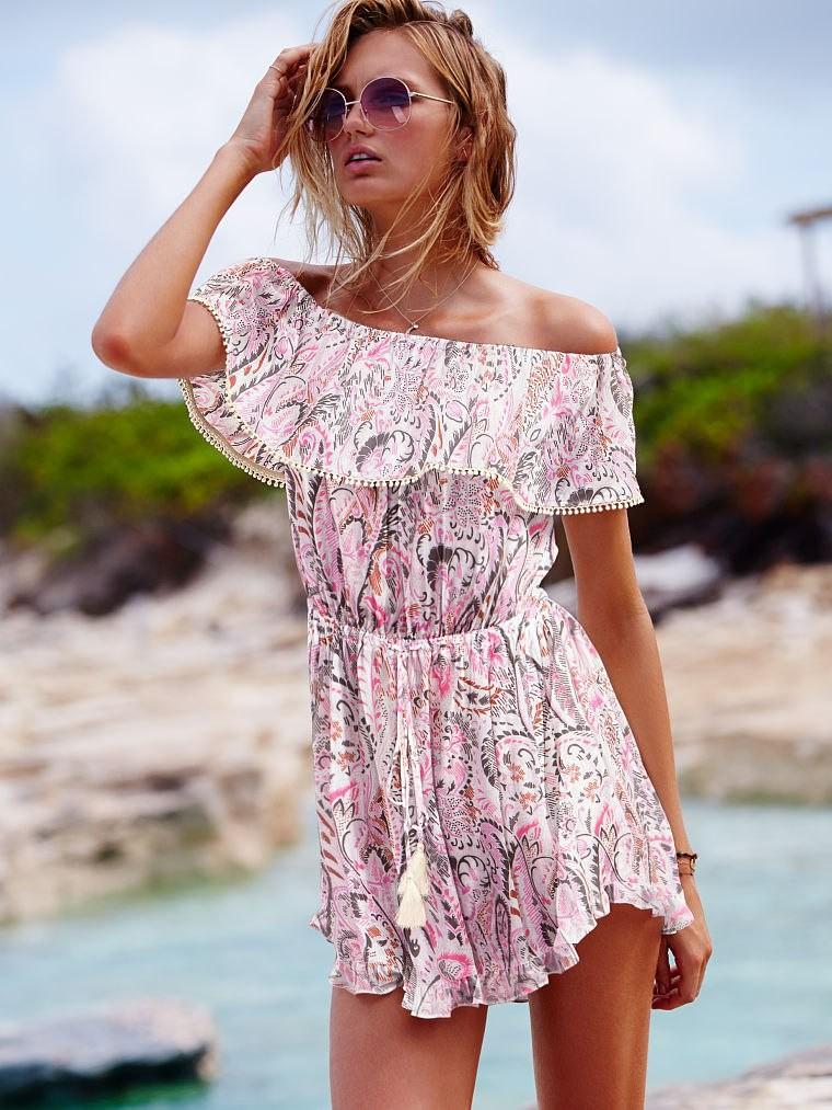 пляжная мода 2018: сарафан отрытые плечи цветное короткий