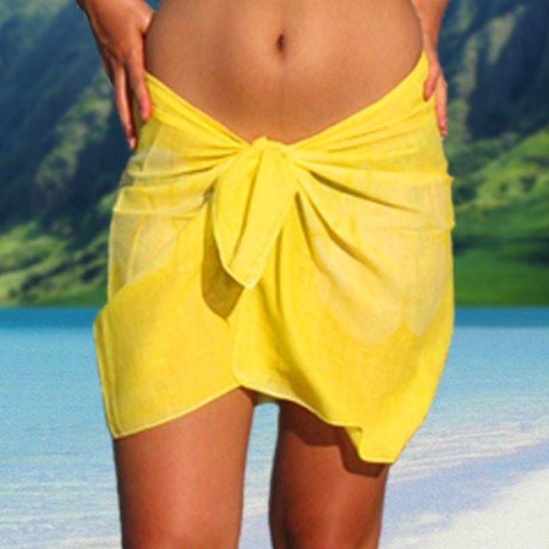 пляжная мода 2019: парео желтое мини