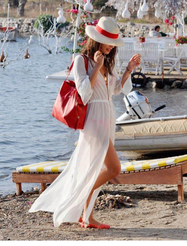 пляжная мода 2019: парео длинное белое рукав длинный