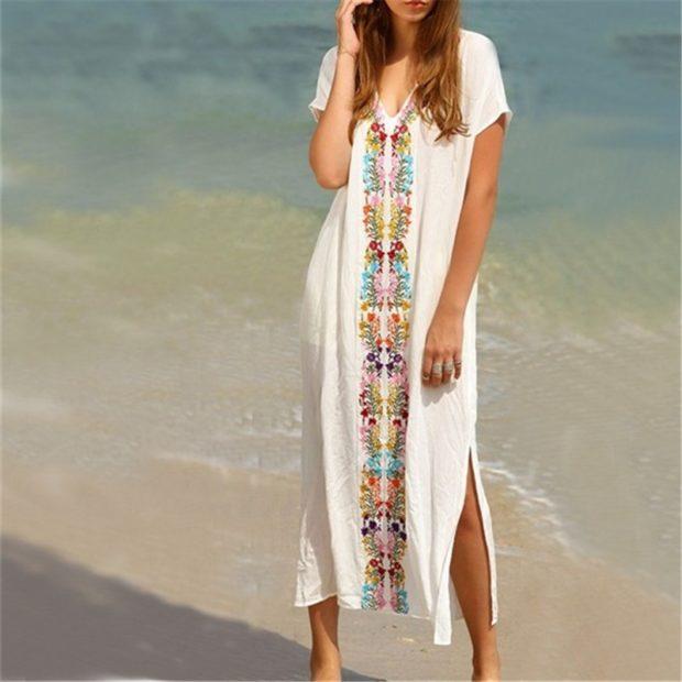 пляжная мода 2019: парео длинное с узором