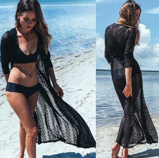 пляжная мода 2019: парео длинное черное кружевное