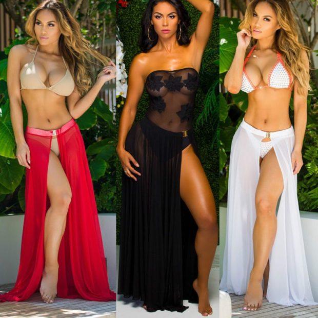 пляжная мода 2019: парео юбка длинная