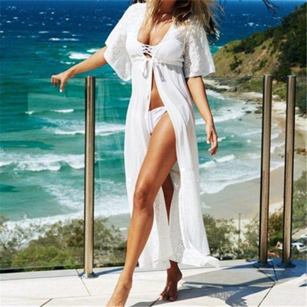 пляжная мода 2019: парео длинное белое платье