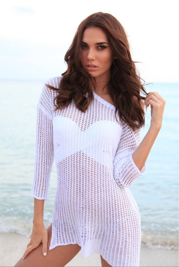пляжная мода 2019: парео платье белое вязанное
