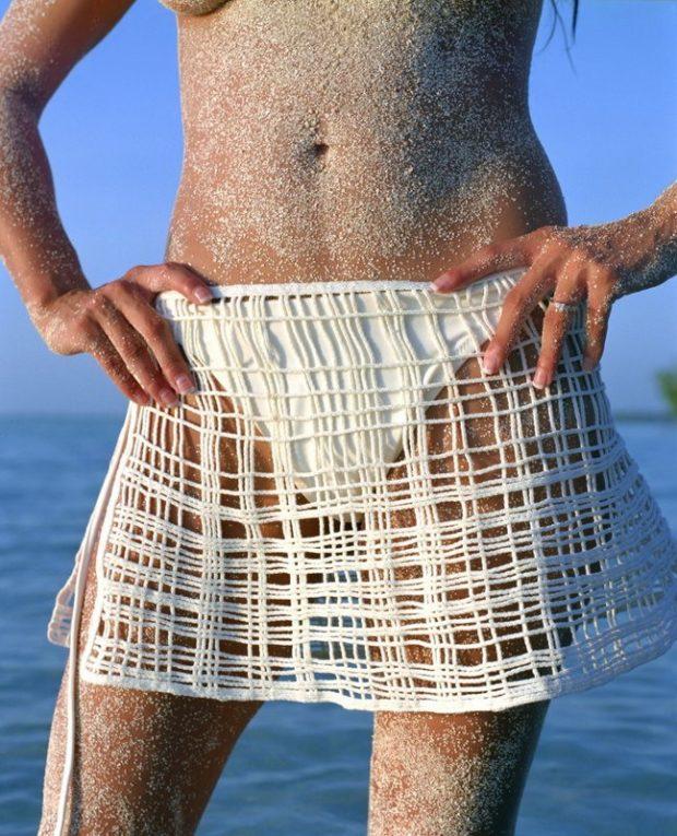 пляжная мода 2019: парео вязанное юбка короткая