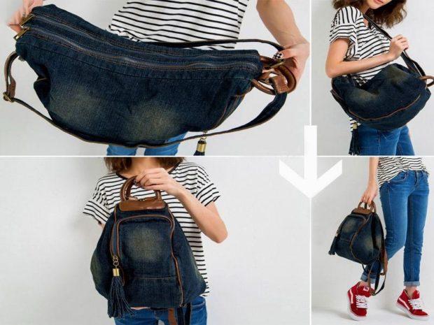 пляжная мода 2019: сумка трансформер темная катоновая