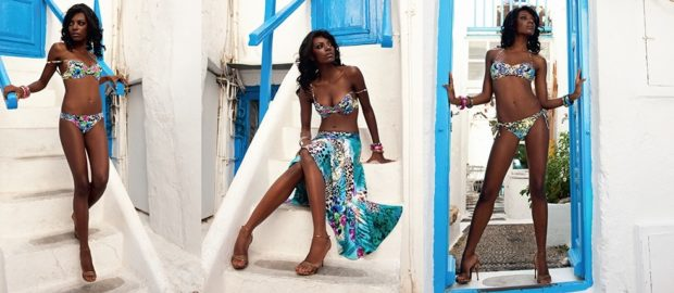 Пляжная мода 2019: купальник яркий раздельный парео