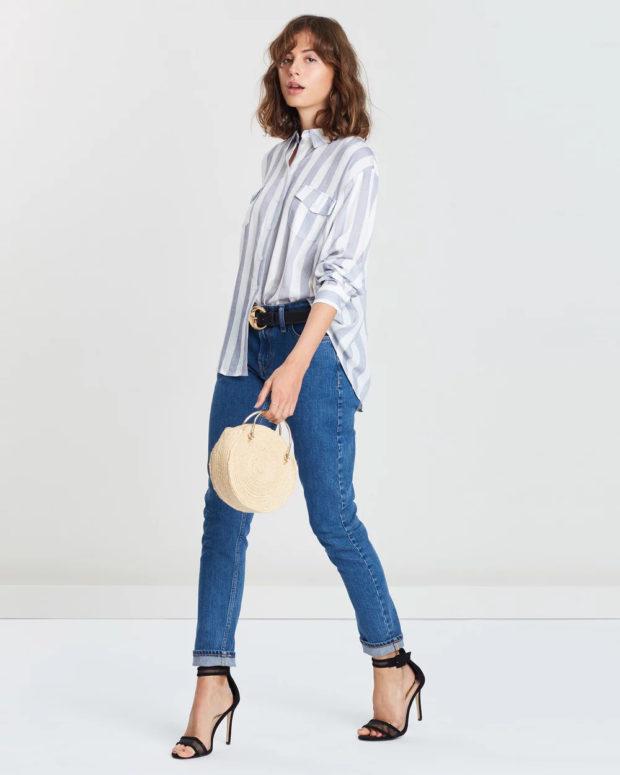 блузка с короткими рукавами 2018-2019: полосатая