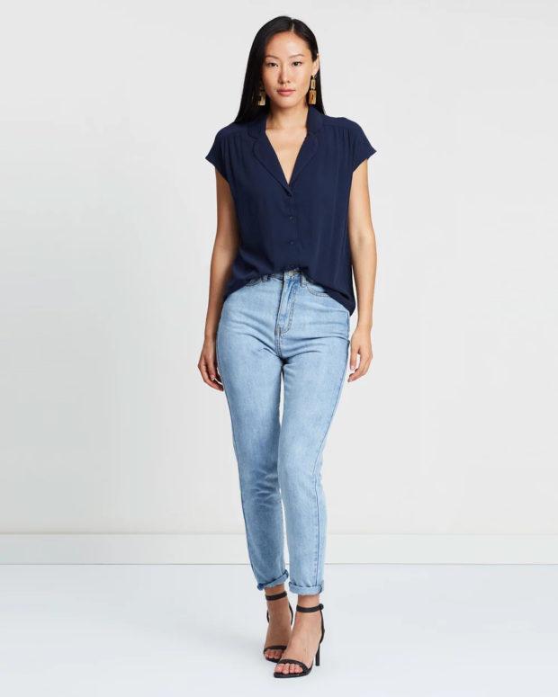 блузка с короткими рукавами: синяя