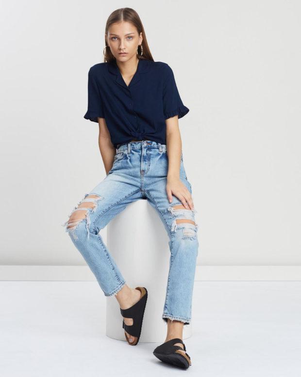 блузка с короткими рукавами: темно-синяя