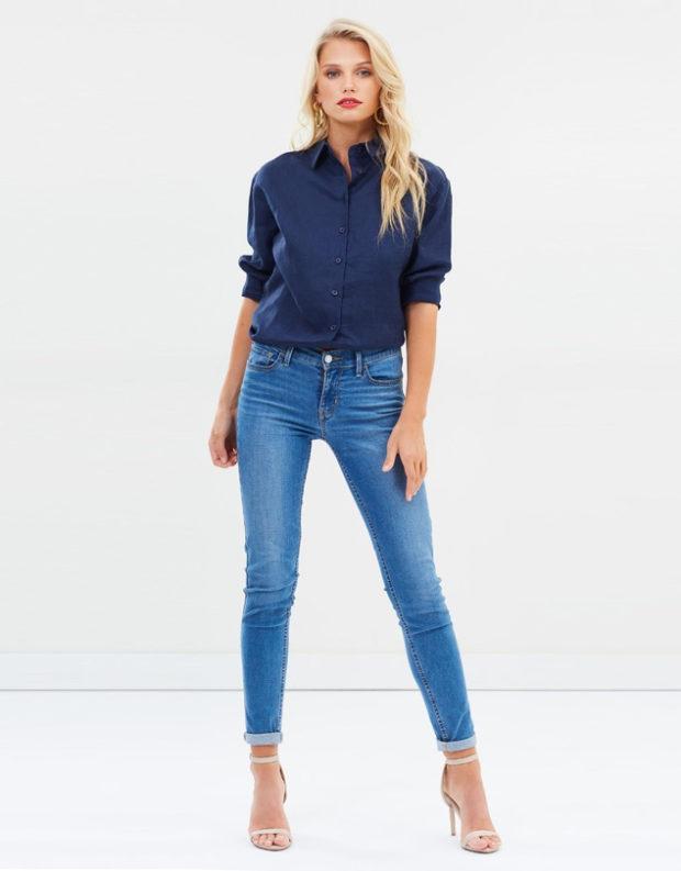 блузка с короткими рукавами: синяя под джинсы
