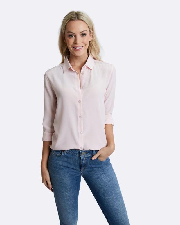 блузка с короткими рукавами: бледно-розовая