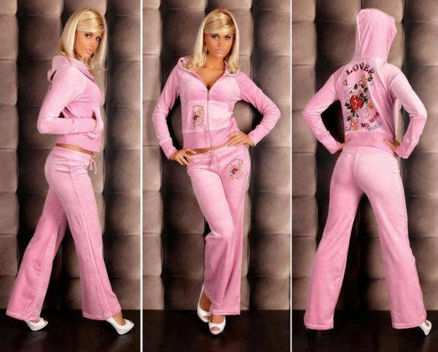 костюм обтягивающие штаны свободный верх розового цвета