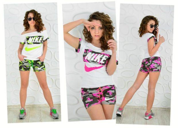 спортивные женские шорты с ярким принтом