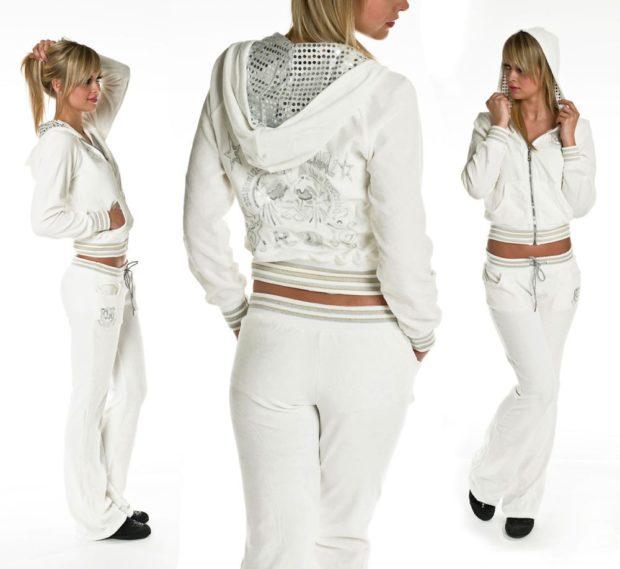 спортивный костюм штаны и свободный верх белого цвета