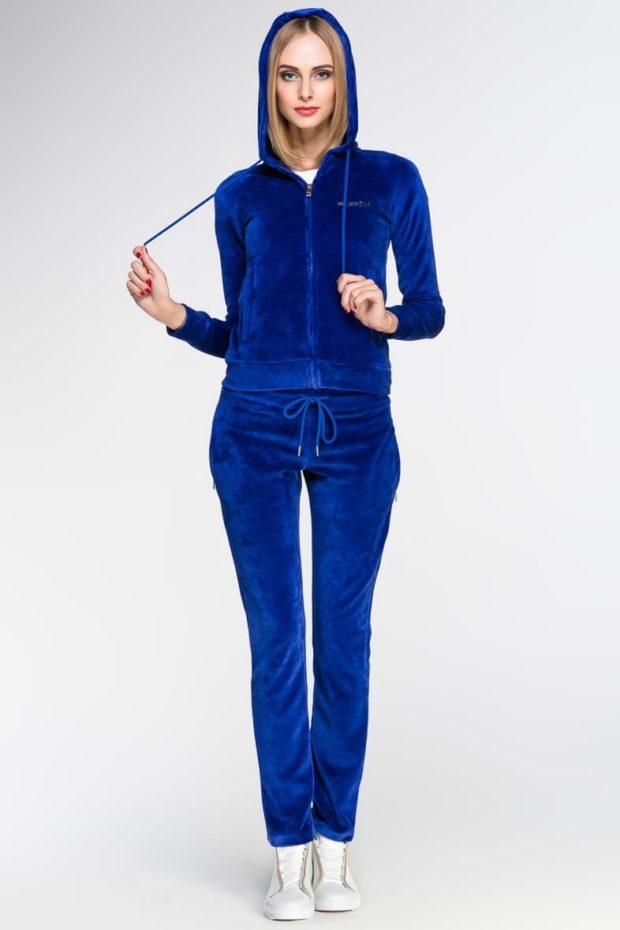 спортивный костюм из вельвета синего цвета