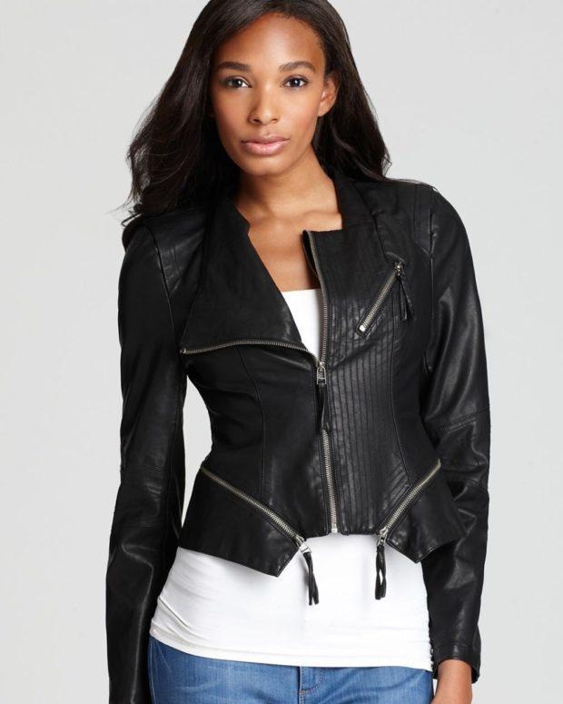 Спортивная верхняя одежда кожаные куртки-бомберы черного цвета