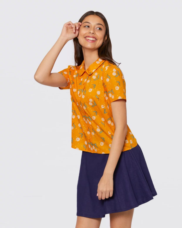 блузки лето 2019: оранжевая короткий рукав