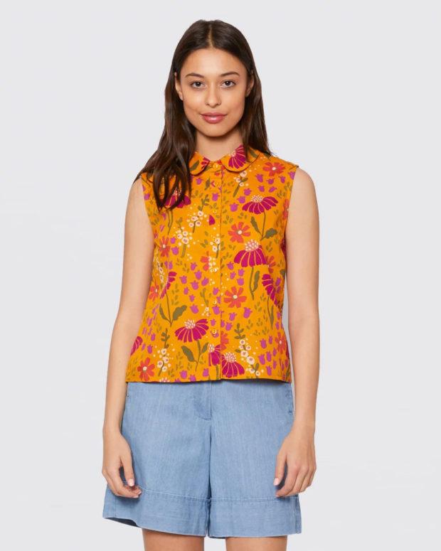 блузки лето 2019: оранжевая без рукавов
