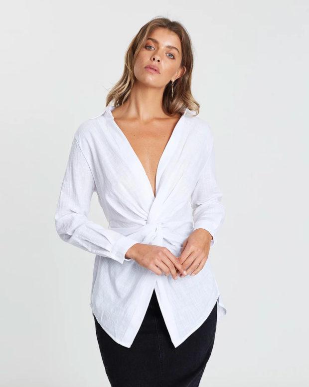 блузки лето 2019: белая длинная