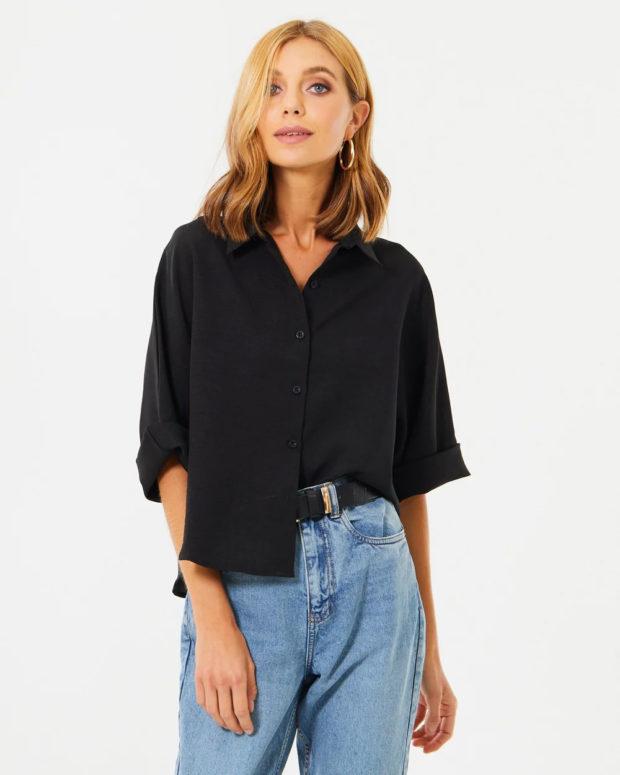 блузка 2019 лето: черная на выпуск