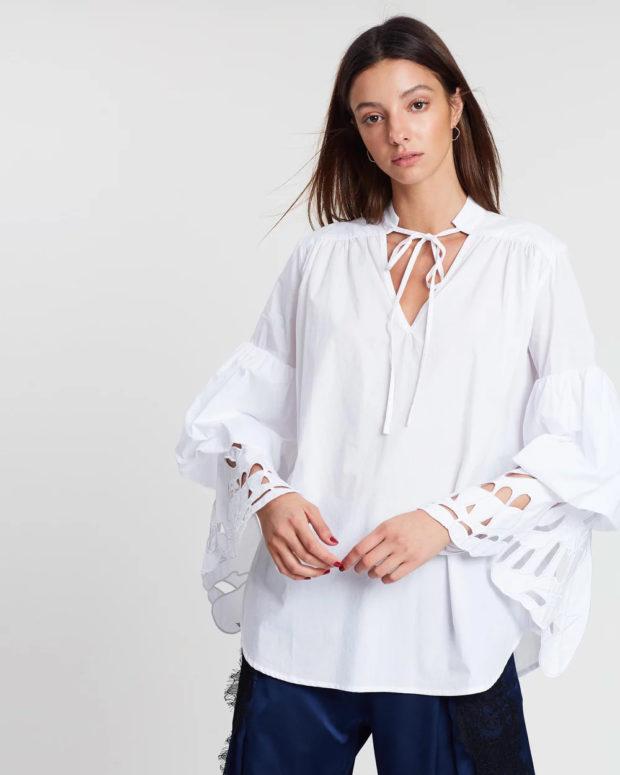 блузки лето 2019: белая длинный рукав