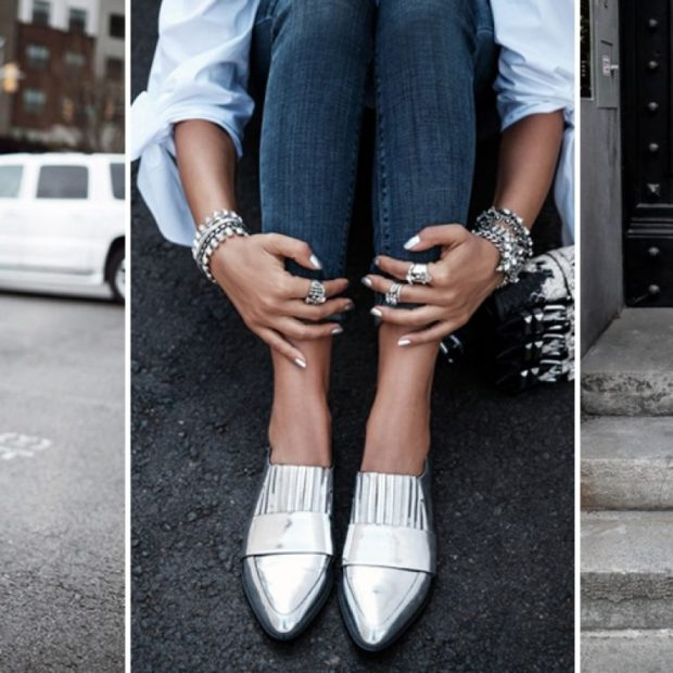 Туфли весна лето 2019: на низком ходу,кожа , без шнуровки, цветом металлик
