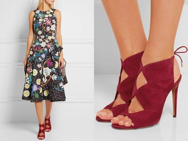 Туфли весна лето 2019: на каблуке, замша, со шнуровкой, бордового цвета