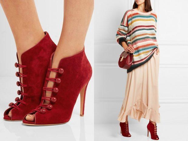Туфли весна лето 2019: на каблуке, замша, с застежками, бордового цвета
