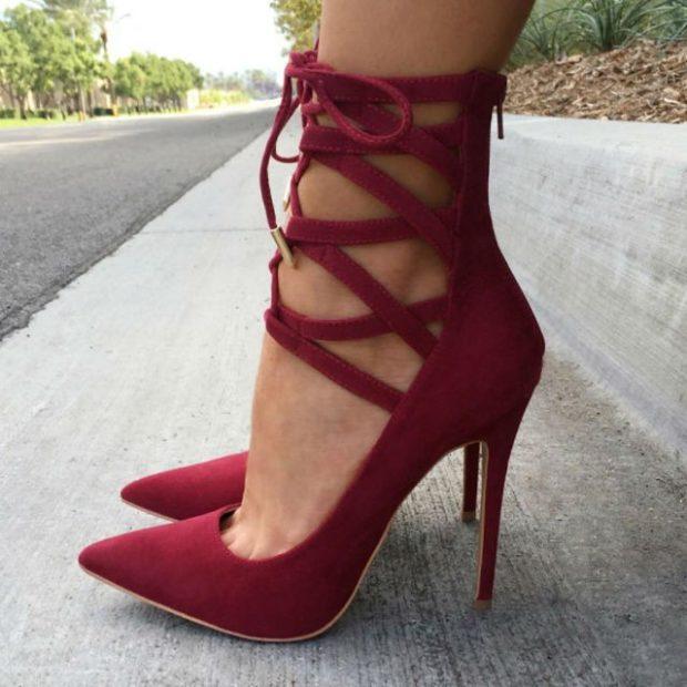 Туфли весна лето 2019: на каблуке, замша, на застежке, бордового цвета