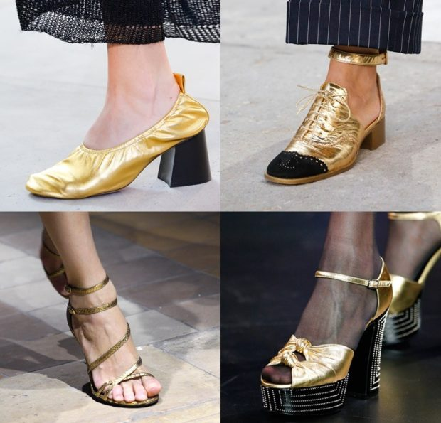 Туфли весна лето 2019: на низком ходу, кожа, со шнуровкой и без шнуровки, золотого цвета