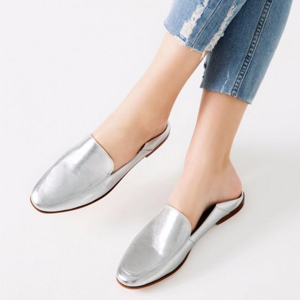 Туфли весна лето 2020: на низком ходу кожа без шнуровки цвета металлик
