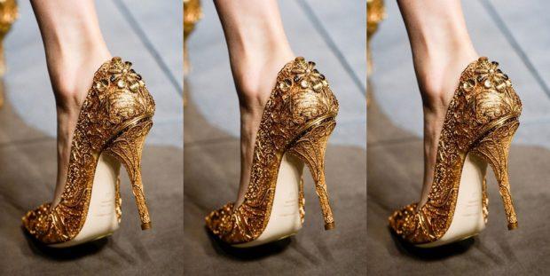 Туфли весна лето: на каблуке кожа без шнуровки золотого цвета