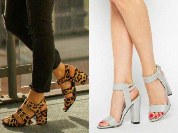Туфли на толстом каблуке на застежках леопардовые и белые цвета