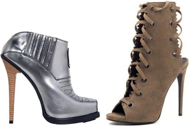 Туфли на толстом каблуке на шнуровке металлик и коричневые