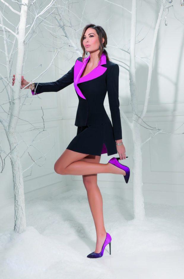 Туфли на шпильке кожаные фиолетового цвета
