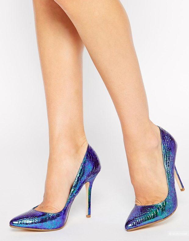 Туфли на шпильке кожа фиолетового цвета