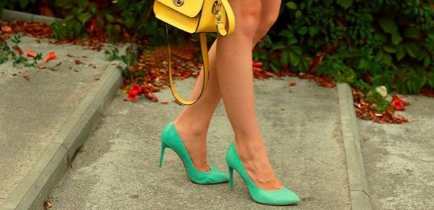 Туфли на шпильке кожа зеленого цвета