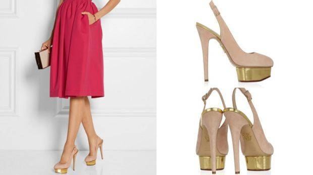 Туфли на шпильке с застежкой замша бежевого цвета