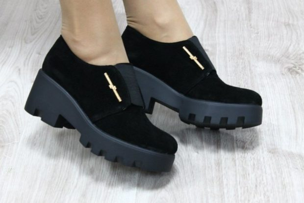 Туфли на тракторной подошве весна лето 2019: на тракторной подошве, кожаные, черного цвета
