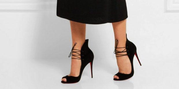 Туфли с открытым носом весна лето 2019: с открытым носом с шнуровкой , кожаные, черного цвета