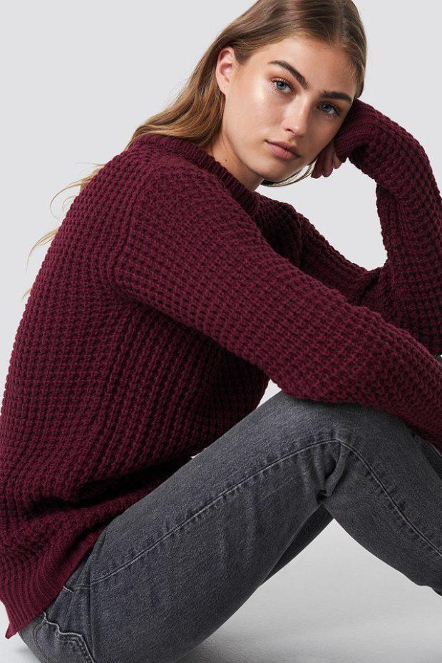 Вязаные свитера осень зима: бордовый