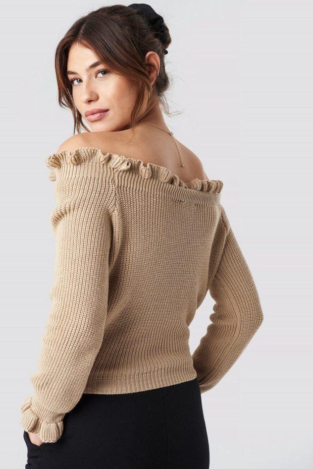 Вязаные свитера осень зима: коричневый вид сзади