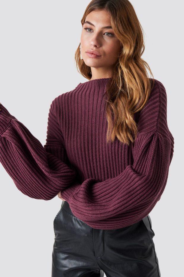 Вязаные свитера осень зима фиолетовый