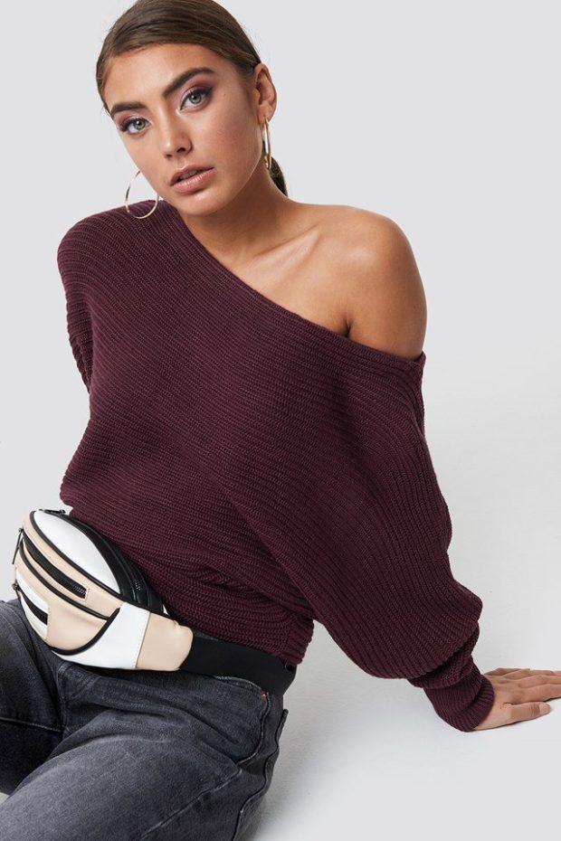 Вязаные свитера осень зима фиолетовый открытое плечо