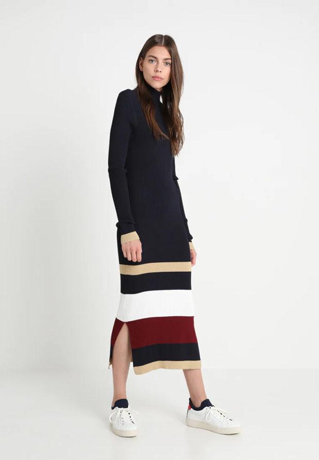 Вязаная мода осень зима 2020-2021: темное платье длинное