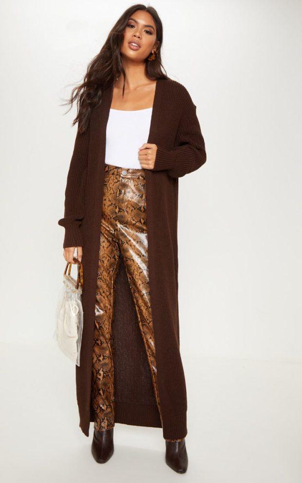 вязаные кардиганы осень зима: шоколадный длинный
