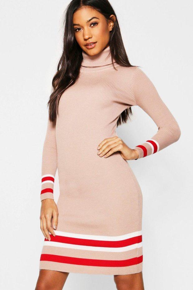 вязаное платье розовое с полосками