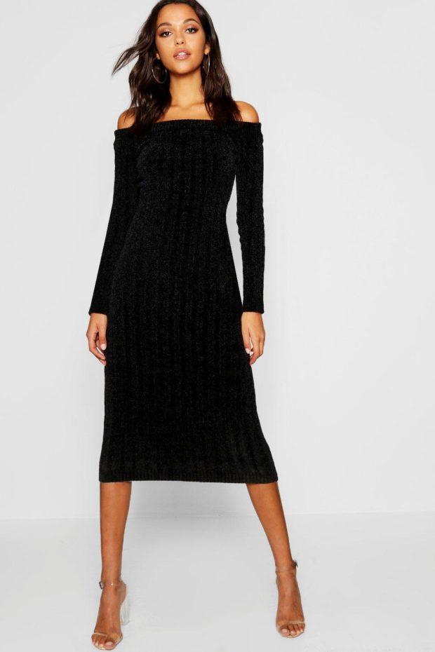вязаное платье черное с открытыми плечами